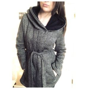 Grey and black wrap jacket with tie and hood